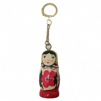 Russian Wooden Doll Wooden KeyChain