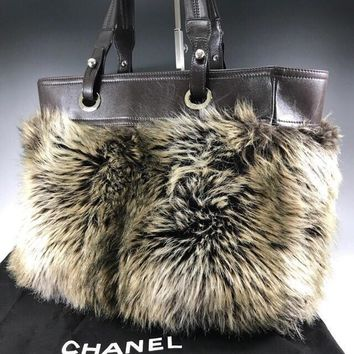 CHANEL Paris Biarritz Tote Bag Fur Leather Purse Brown Women Auth Italy Rare !!
