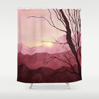 Sunset & landscape Shower Curtain by vivianagonzlez