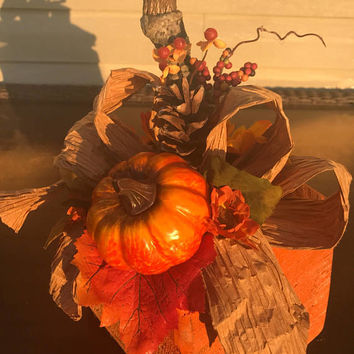 Fall Table Decor Bed Breakfast Yard Art Door Stop Primitive Rustic Antiqued Painted Orange Wooden Pine Cones Pumpkin Taffeta Bow lcww