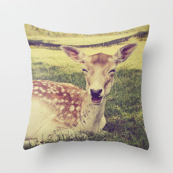 Pillow Cover, Smiling Deer, Happiness, Nature, Home Decor, Living Room, Cute Fawn, Whimsical, Cushion, Nursery, 16x16, 18x18, 20x20