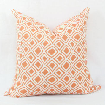 "Duralee orange & creme decorative throw pillow cover. 18"" x 18""  toss pillow. 18"" square accent pillow."