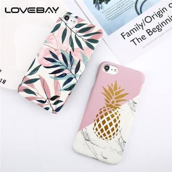 LOVEBAY Phone Case For iPhone 8 7 6 6s Plus Fashion Cartoon Leaf Pineapple Colorful Geometry Hard Back Cover Case For iPhone 8