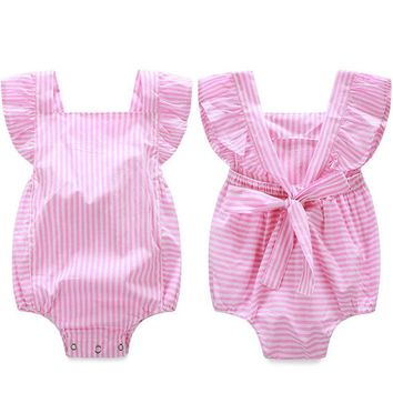 2016 Newborn Infant Baby Girls Clothes Bodysuits Stripe Cotton Quality Bow Casual Jumpsuit Outfit Sunsuit Bodysuit Baby Girl
