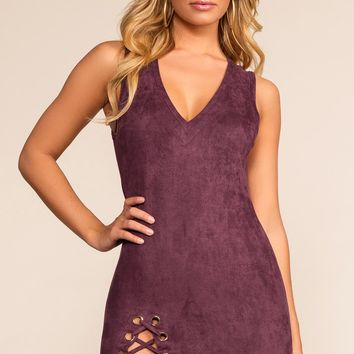 Sierra Lace Up Dress - Plum