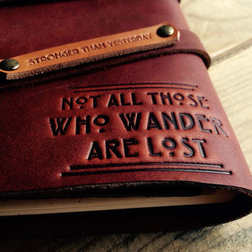 "50% OFF! Not All Who Wander Refillable Leather Journal...Made in Portland...Use Code ""BigSale"" Small only 20 Dollars, Wow!"