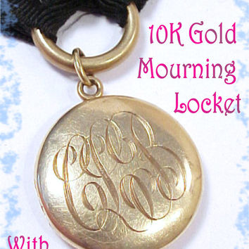 10K GOLD Edwardian Era Mourning Locket With Hair & Tooth Engraved RARE