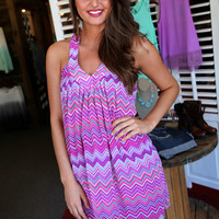 Zig-Zag Ruffle Racerback Dress