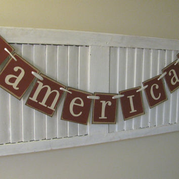 Patriotic America Folk Art Primitive Banner Garland Bunting Americana Colors Great Fireplace Decor