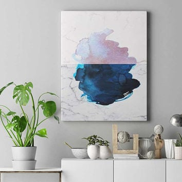 Pink and blue watercolor print, rose gold, abstract art, marble decor, watercolor art, sister gifts, large wall art, bedroom wall decor