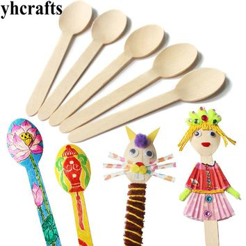100PCS/LOT.Wood spoon arts and crafts.Early learning educational toys Kindergarten craft material Drawing toy sets Craft toy OEM