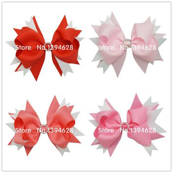 USD1.69/PC 5Inches Big Stacked Boutique Bows With 6cm Hair Clip Hairpin 8 Colors Solid Grosgrain Ribbon Bows Hair Accessories