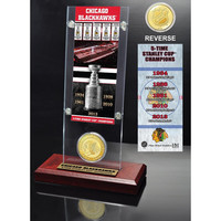 Chicago Blackhawks 5x Stanley Cup Champions Ticket and Bronze Coin Acrylic Display