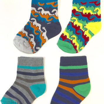 8-Pack Trimfit Toddler Boys Dino Puzzle, Stripe Colorblock Crew Socks