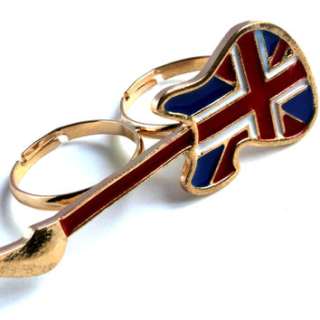 """Rock Star Guitar"" Gold Two Finger Ring With British Flag Accent"