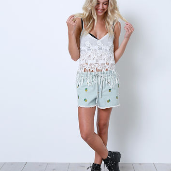 White Heat Lace Crop Top