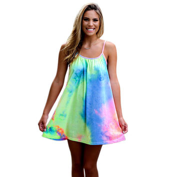 Summer Style Tie Dye Beach Dress Vestido 2016 Loose Casual Boho Mini Dress Spaghetti Strap Sexy Women Dresses Plus Size Sundress
