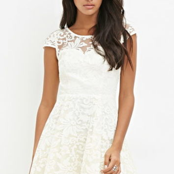 Ornate-Embroidered Fit & Flare Dress