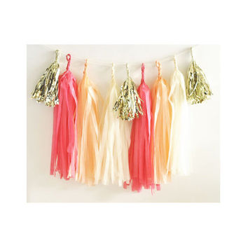Paper Garland & Metallic Mini Tassels - 20 Tassel DIY Kit - Coral Peach Ivory Gold Foil - Wedding Decor Party Bridal Shower Baby Birthday