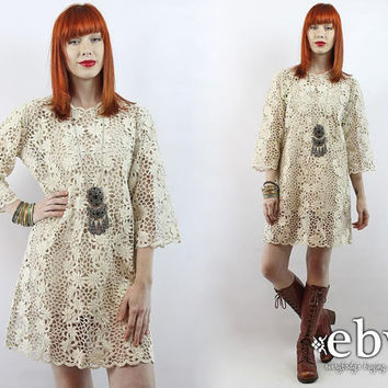Vintage 60s Embroidered Floral Mini Dress L Crochet Lace Dress Hippie Wedding Dress Hippie Dress Hippy Dress Boho Dress Boho Wedding Dress