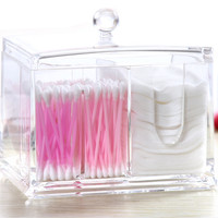 PuTwo Cotton Pads Holder Acrylic Makeup Organiser Cotton Swab Holder