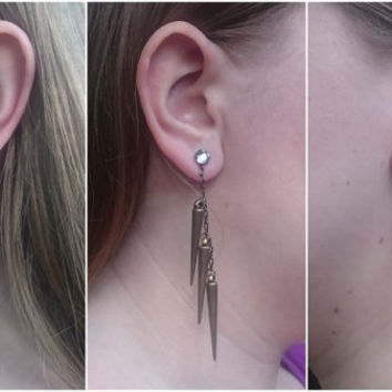Gunmetal, Antique Gold, and Copper Plated Spike Earring Charms, Swarovski Stud Earring Not Included