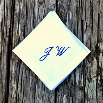 Monogrammed Linen Handkerchief with Two Initials, Personalized Pocket Square, Hand Embroidered Hankerchief with Monogram, Custom Hankie