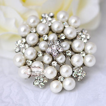 Pearl & Rhinestone Brooch Component - Flat back Rhinestone Brooch Embellishment - Rhinestone Button - Brooch Bouquet Supplies - Jewelry