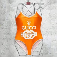 Gucci Tide brand women's sexy point collar one-piece sexy swimsuit Orange