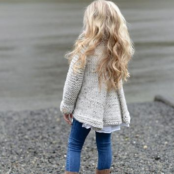Girl's Fashion Knit Sweater Autumn Winter Casual Coat Baby Girl's Cardigan Outerwear