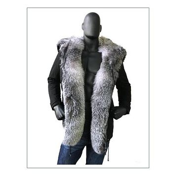 Cotton Parka With Fur Trim