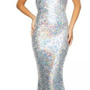 Silver Sequined One Shoulder Sleeveless Bodycon Fishtail Maxi Dress