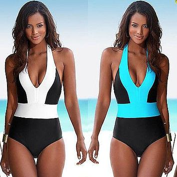 Sexy One Piece Colorblock Bandage Swimsuit