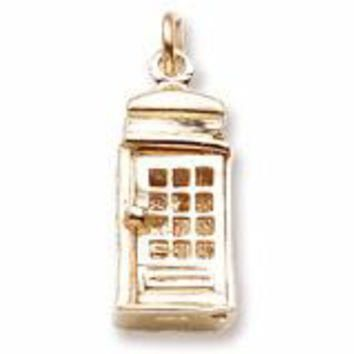 Phone Booth Charm in Yellow Gold Plated