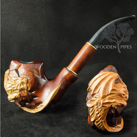 "Long Tobacco Smoking Pipe ""UNIQUE CARVED DRAGON"" & Pouch gift. Author's carved pipe/pipes. Hand carved pipes. Wooden smoking pipe/pipes."