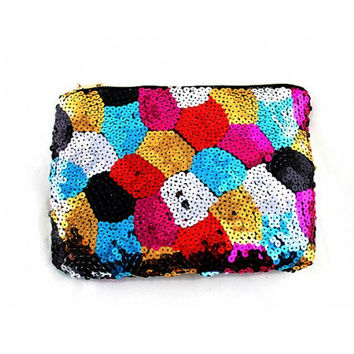 Peacock - Color Block Sequin Clutch save 65%!