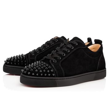 Christian Louboutin Louis Junior Spikes Men's Women's Flat Black Suede 1130575CM53