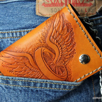 Handcrafted Leather Tri-fold Chain Wallet, winged wheels, biker wallet, custom leather