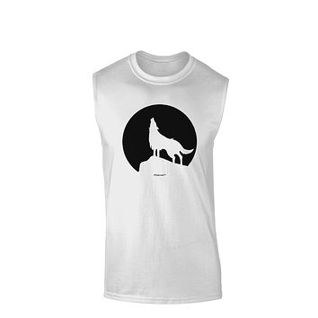 Wolf Howling at the Moon - Design #1 Muscle Shirt  by TooLoud