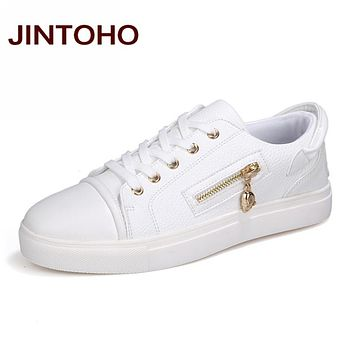 JINTOHO Spring Autumn Fashion Men Casual Shoes White Zip Mens Shose  Luxury Brand Designer Shoes Men Cheap Walking China Shoes