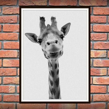 Giraffe Print, Nursery Animal Wall Art, Kids Printable Art Black and White Nursery Decor Safari African Animal Print, Nursery Printable *49*