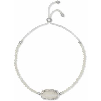 Kendra Scott: Elaina Silver Beaded Chain Bracelet In Ivory Pearl
