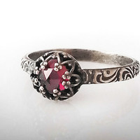 Rose Cut Garnet Ring - Sterling Silver Pattern Band - Custom created in your size