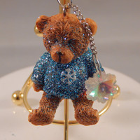 Resin Teddy Bear keychain, winter sweater, crystal cut glass snowflake, collector gift for new driver, stocking stuffer