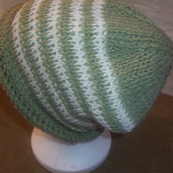 Hand Crocheted Tunisian Stitch Frosty Green and White Stripe Roll Brim Slouch Hat