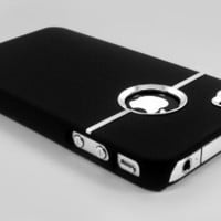 New Deluxe Black Case Cover W/chrome for Iphone 4 (AT&T only)