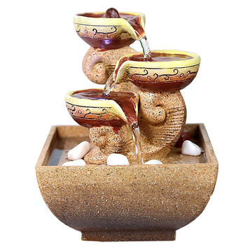 Decorative Indoor Water Fountains Office Desktop Gift Home Decorations Humidification Artificial Stones Craft