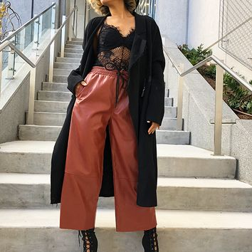 PAID IN FULL FAUX LEATHER CULOTTES