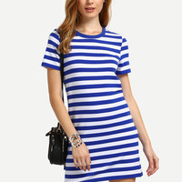 Summer White and Blue Short Sleeve Striped Casual Dress