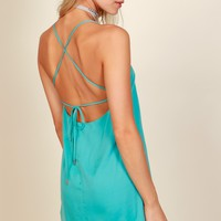 Forever In Love Satin Dress Aqua